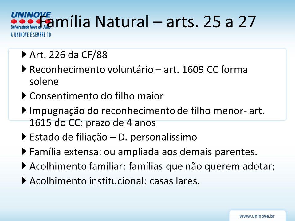 Art. 226 da CF/88 Reconhecimento voluntário – art. 1609 CC forma solene Consentimento do filho maior Impugnação do reconhecimento de filho menor- art.