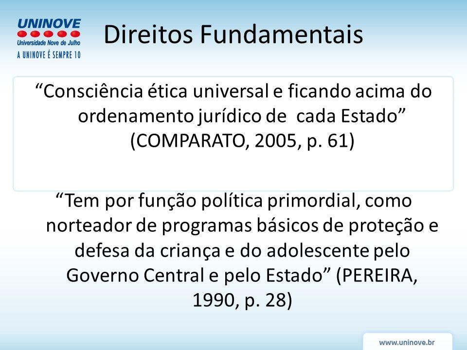 Consciência ética universal e ficando acima do ordenamento jurídico de cada Estado (COMPARATO, 2005, p. 61) Tem por função política primordial, como n