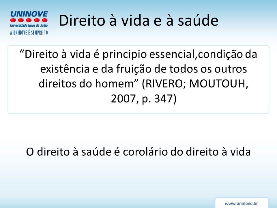 Direito à vida é principio essencial,condição da existência e da fruição de todos os outros direitos do homem (RIVERO; MOUTOUH, 2007, p. 347) O direit