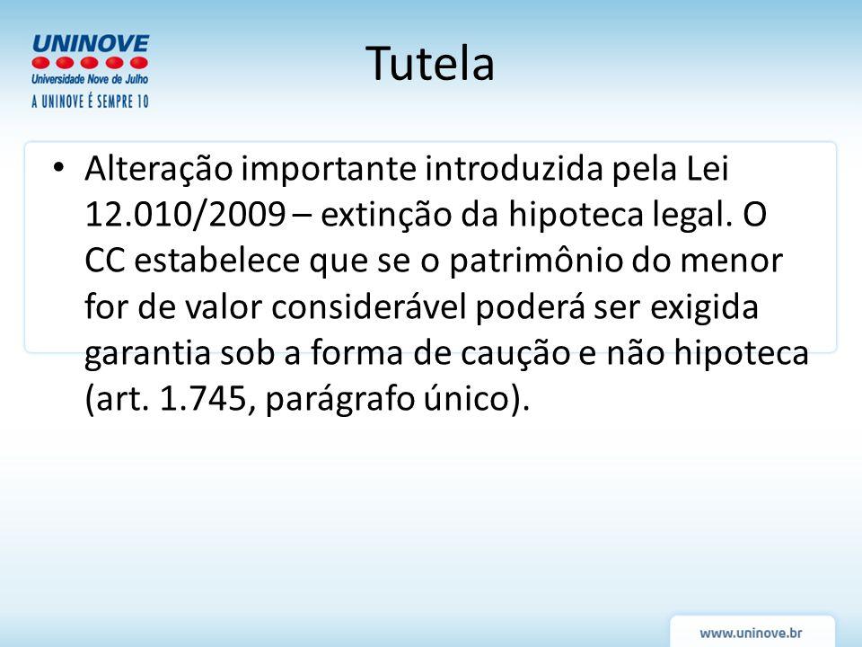 Alteração importante introduzida pela Lei 12.010/2009 – extinção da hipoteca legal. O CC estabelece que se o patrimônio do menor for de valor consider