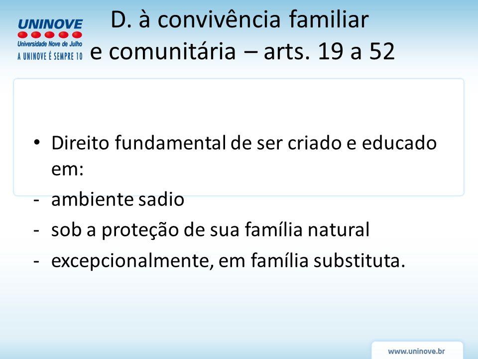 Direito fundamental de ser criado e educado em: -ambiente sadio -sob a proteção de sua família natural -excepcionalmente, em família substituta. D. à