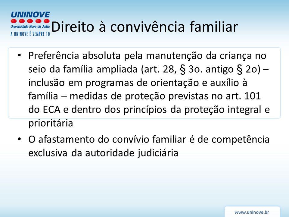 Preferência absoluta pela manutenção da criança no seio da família ampliada (art. 28, § 3o. antigo § 2o) – inclusão em programas de orientação e auxíl