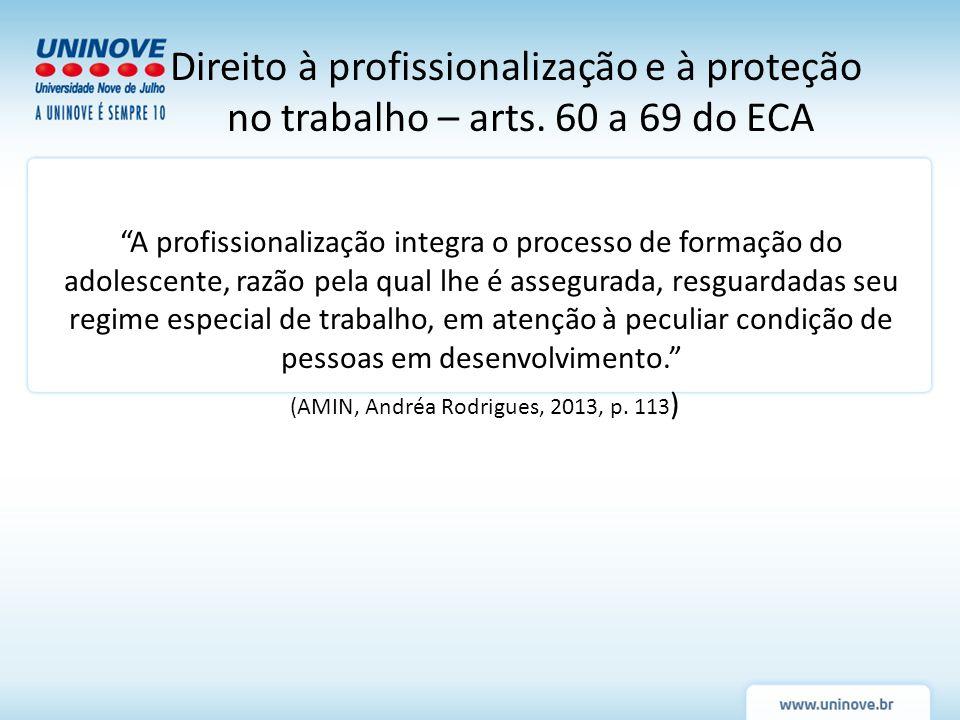 A profissionalização integra o processo de formação do adolescente, razão pela qual lhe é assegurada, resguardadas seu regime especial de trabalho, em