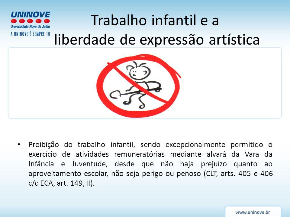 Proibição do trabalho infantil, sendo excepcionalmente permitido o exercício de atividades remuneratórias mediante alvará da Vara da Infância e Juvent