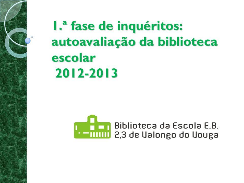 1.ª fase de inquéritos: autoavaliação da biblioteca escolar: 2012-2013 1.
