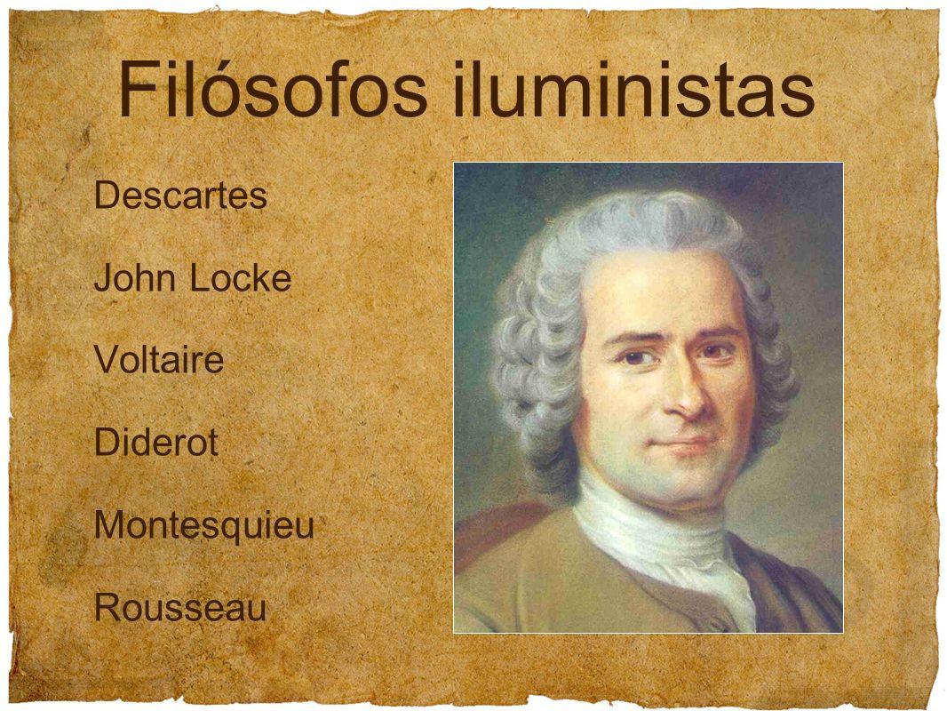 Filósofos iluministas Descartes John Locke Voltaire Diderot Montesquieu Rousseau