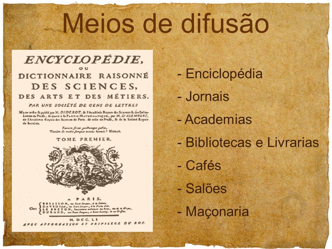 - Enciclopédia - Jornais - Academias - Bibliotecas e Livrarias - Cafés - Salões - Maçonaria Meios de difusão