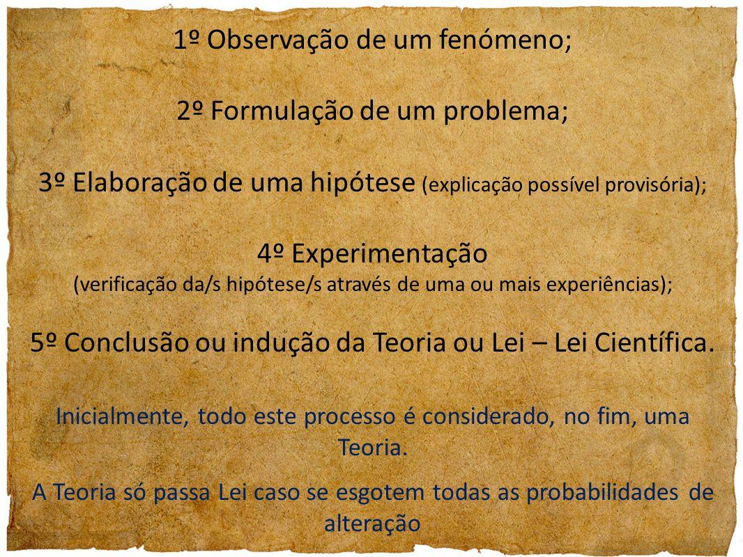 1º Observação de um fenómeno; 2º Formulação de um problema; 3º Elaboração de uma hipótese (explicação possível provisória); 4º Experimentação (verific