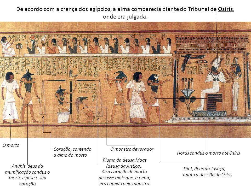 Coração, contendo a alma do morto De acordo com a crença dos egípcios, a alma comparecia diante do Tribunal de Osíris, onde era julgada. O morto Anúbi