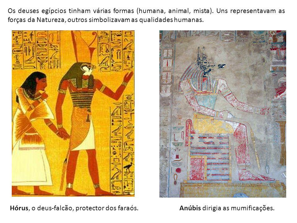 Os deuses egípcios tinham várias formas (humana, animal, mista). Uns representavam as forças da Natureza, outros simbolizavam as qualidades humanas. H