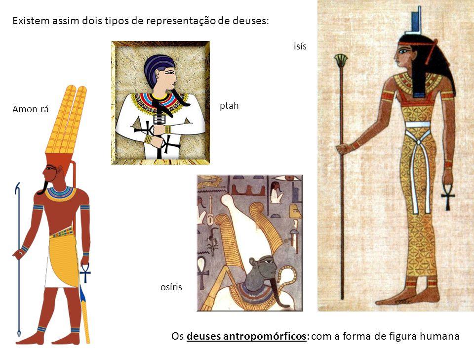 A cabeça era habitualmente de um animal sagrado para os egípcios (falcão, gato, crocodilo, etc) e o corpo com a figura humana.
