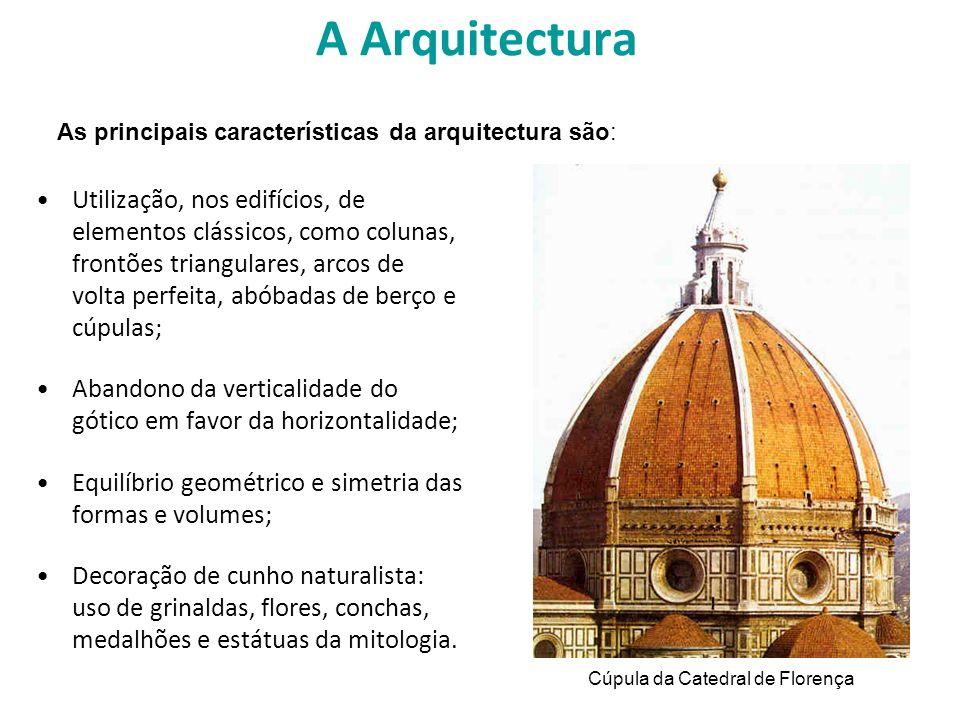 A Arquitectura Utilização, nos edifícios, de elementos clássicos, como colunas, frontões triangulares, arcos de volta perfeita, abóbadas de berço e cú