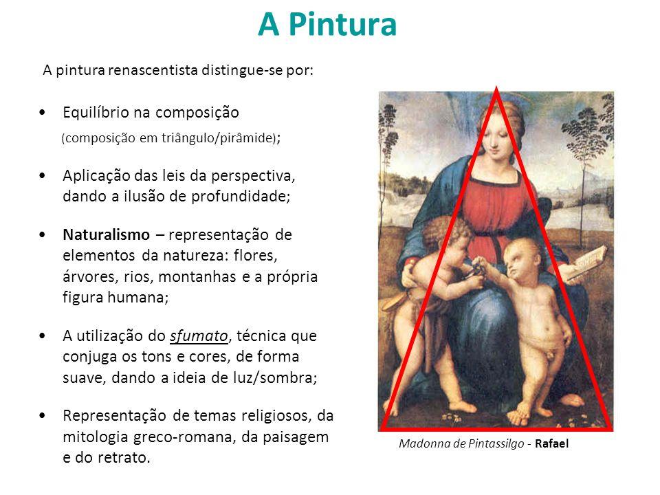 A Pintura Equilíbrio na composição ( composição em triângulo/pirâmide ) ; Aplicação das leis da perspectiva, dando a ilusão de profundidade; Naturalis