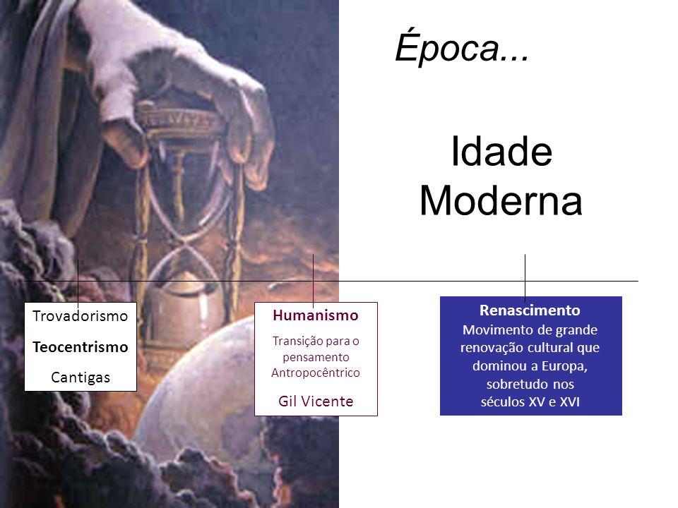 Época... Trovadorismo Teocentrismo Cantigas Humanismo Transição para o pensamento Antropocêntrico Gil Vicente Renascimento Movimento de grande renovaç
