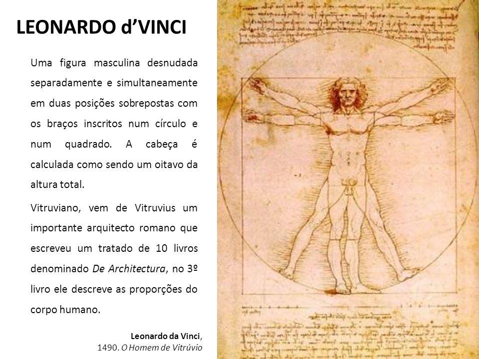 LEONARDO dVINCI Uma figura masculina desnudada separadamente e simultaneamente em duas posições sobrepostas com os braços inscritos num círculo e num