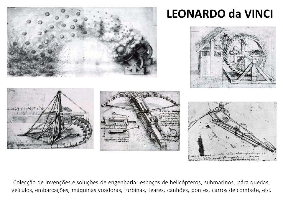 Colecção de invenções e soluções de engenharia: esboços de helicópteros, submarinos, pára-quedas, veículos, embarcações, máquinas voadoras, turbinas,
