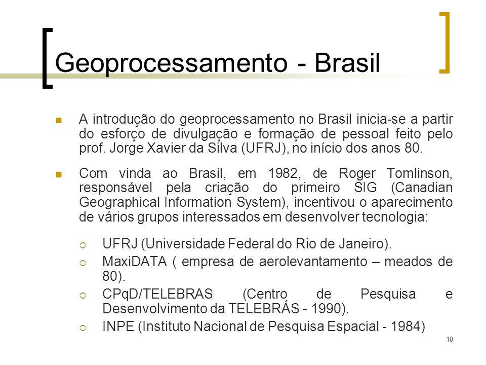 10 Geoprocessamento - Brasil A introdução do geoprocessamento no Brasil inicia-se a partir do esforço de divulgação e formação de pessoal feito pelo p