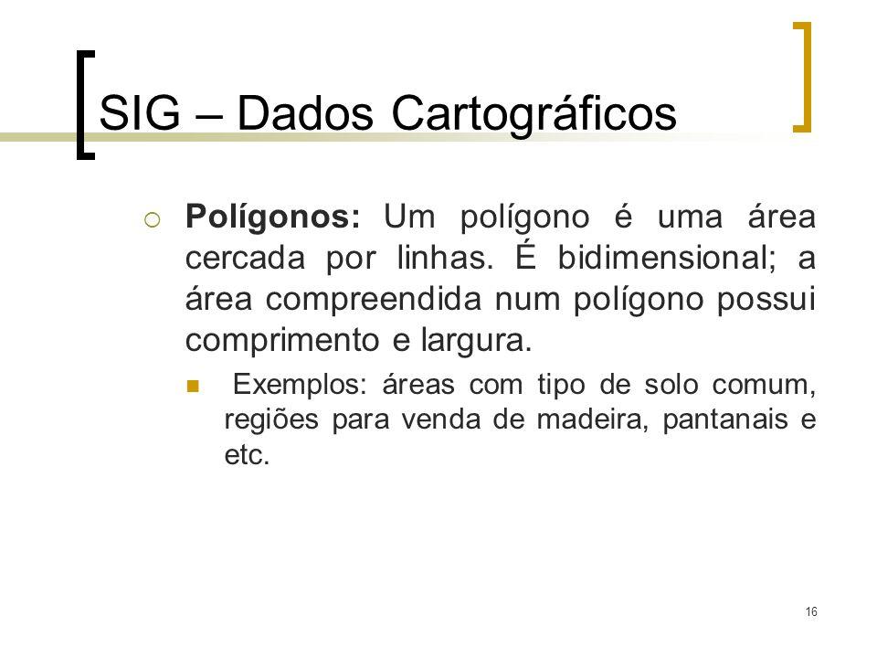 16 SIG – Dados Cartográficos Polígonos: Um polígono é uma área cercada por linhas. É bidimensional; a área compreendida num polígono possui compriment