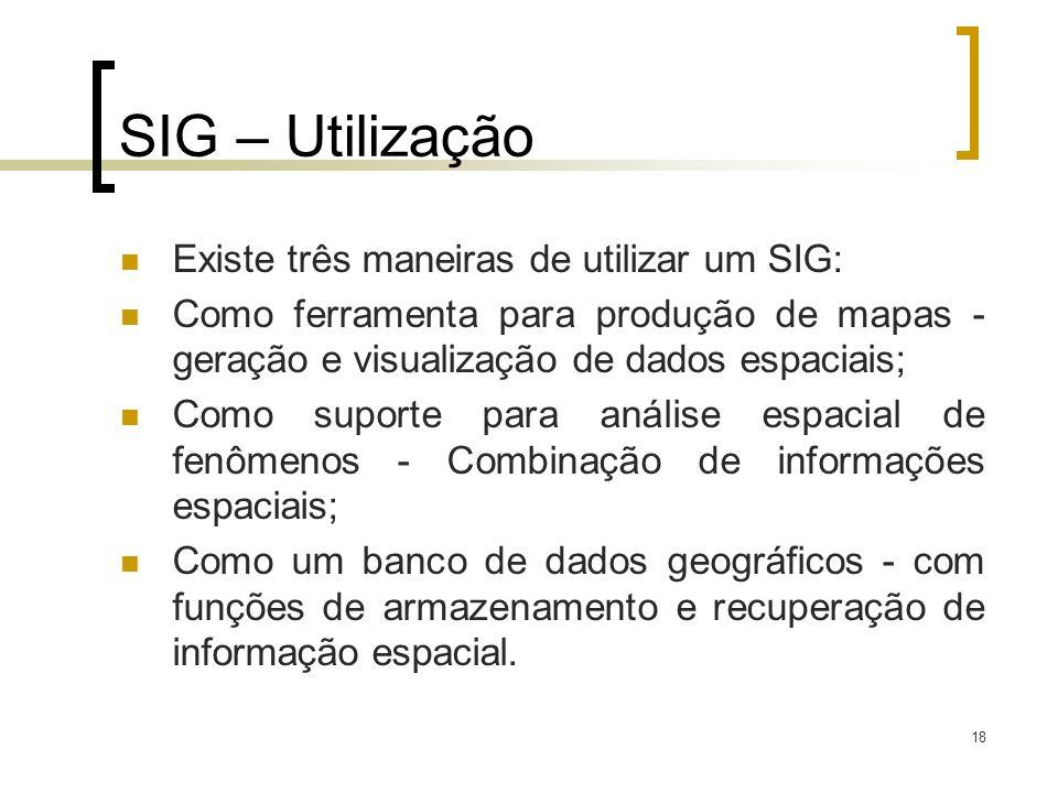 18 SIG – Utilização Existe três maneiras de utilizar um SIG: Como ferramenta para produção de mapas - geração e visualização de dados espaciais; Como