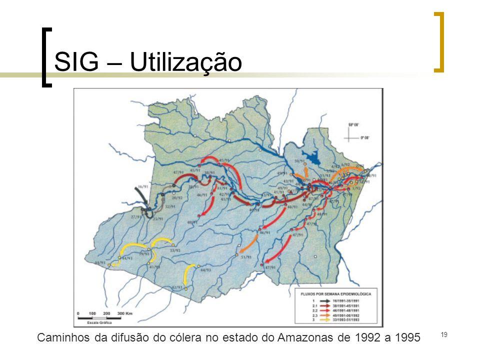 19 SIG – Utilização Caminhos da difusão do cólera no estado do Amazonas de 1992 a 1995