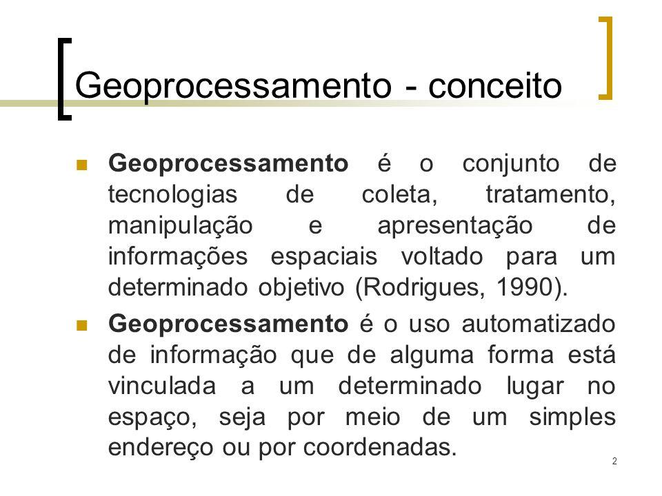 2 Geoprocessamento - conceito Geoprocessamento é o conjunto de tecnologias de coleta, tratamento, manipulação e apresentação de informações espaciais