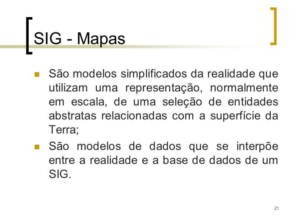 21 SIG - Mapas São modelos simplificados da realidade que utilizam uma representação, normalmente em escala, de uma seleção de entidades abstratas rel