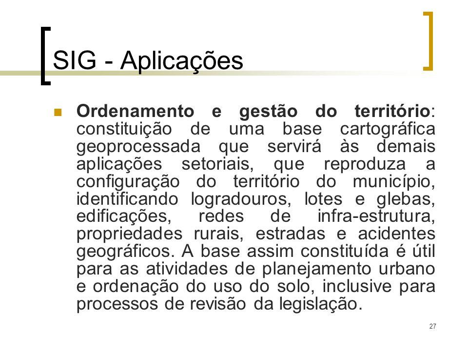 27 SIG - Aplicações Ordenamento e gestão do território: constituição de uma base cartográfica geoprocessada que servirá às demais aplicações setoriais