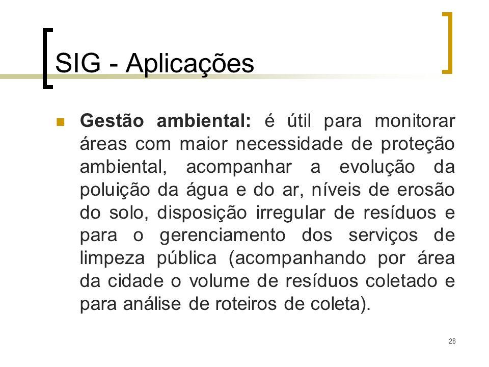28 SIG - Aplicações Gestão ambiental: é útil para monitorar áreas com maior necessidade de proteção ambiental, acompanhar a evolução da poluição da ág