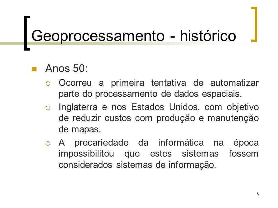 6 Geoprocessamento - histórico Anos 50: Ocorreu a primeira tentativa de automatizar parte do processamento de dados espaciais. Inglaterra e nos Estado