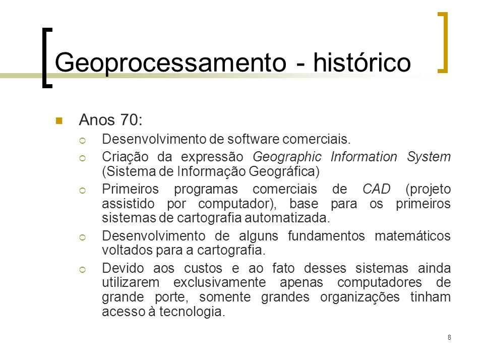 8 Geoprocessamento - histórico Anos 70: Desenvolvimento de software comerciais. Criação da expressão Geographic Information System (Sistema de Informa