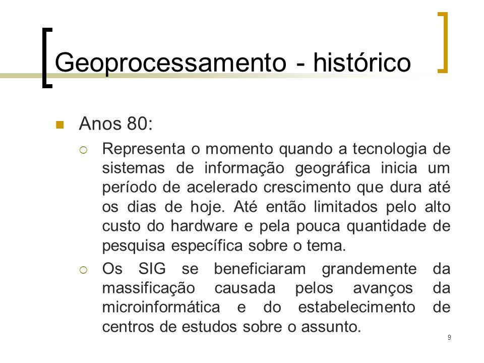 9 Geoprocessamento - histórico Anos 80: Representa o momento quando a tecnologia de sistemas de informação geográfica inicia um período de acelerado c