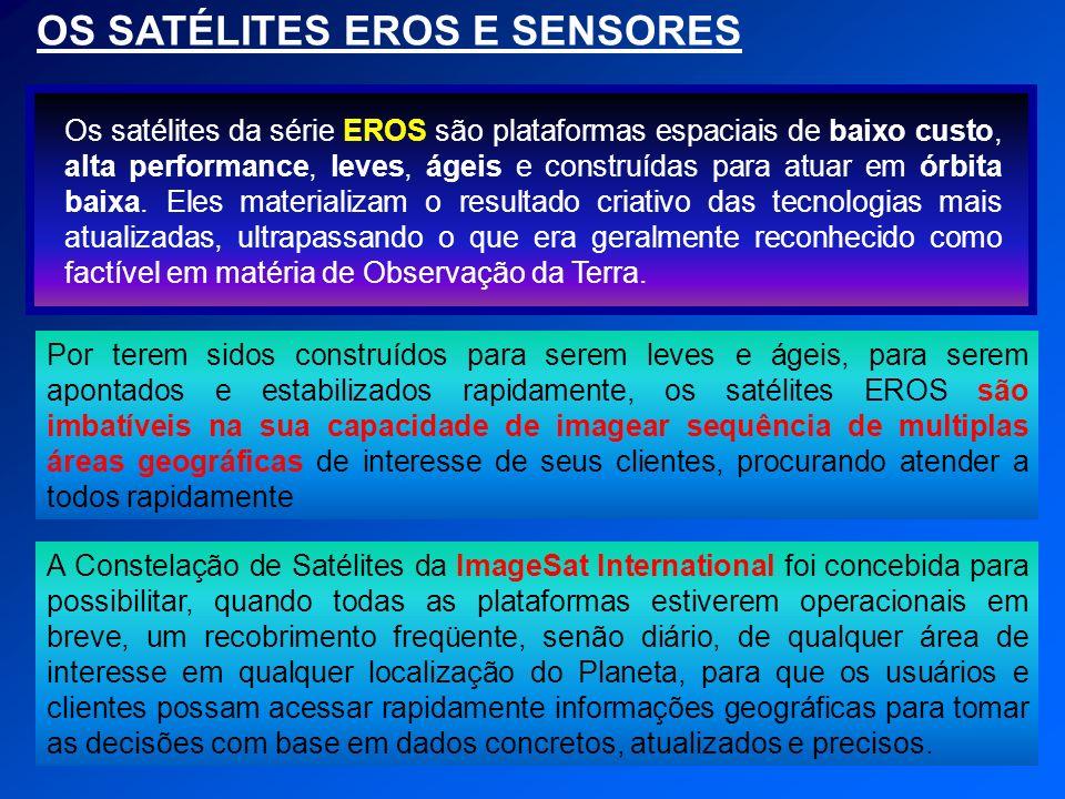 OS SATÉLITES EROS E SENSORES Os satélites da série EROS são plataformas espaciais de baixo custo, alta performance, leves, ágeis e construídas para at