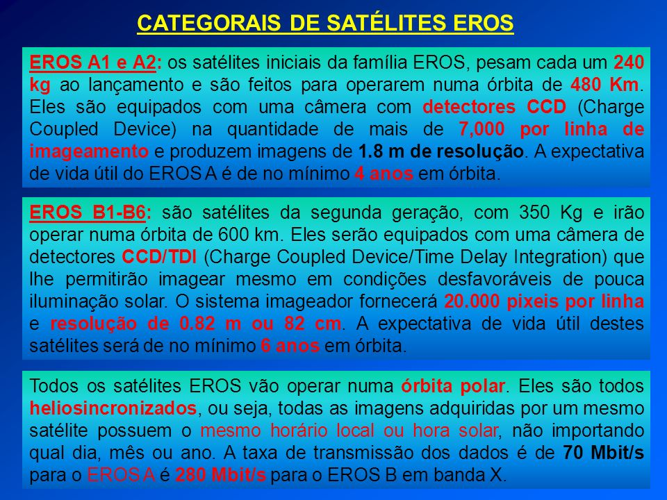 CATEGORAIS DE SATÉLITES EROS EROS A1 e A2: os satélites iniciais da família EROS, pesam cada um 240 kg ao lançamento e são feitos para operarem numa ó