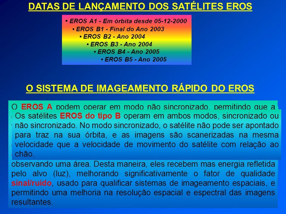 DATAS DE LANÇAMENTO DOS SATÉLITES EROS EROS A1 - Em órbita desde 05-12-2000 EROS B1 - Final do Ano 2003 EROS B2 - Ano 2004 EROS B3 - Ano 2004 EROS B4