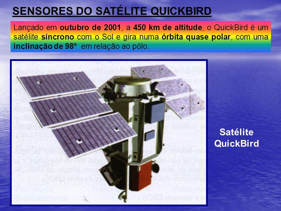 SENSORES DO SATÉLITE QUICKBIRD Lançado em outubro de 2001, a 450 km de altitude, o QuickBird é um satélite síncrono com o Sol e gira numa órbita quase