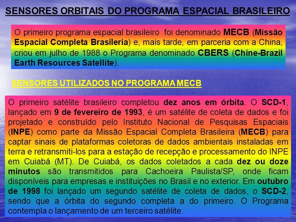 SENSORES ORBITAIS DO PROGRAMA ESPACIAL BRASILEIRO O primeiro programa espacial brasileiro foi denominado MECB (Missão Espacial Completa Brasileria) e,