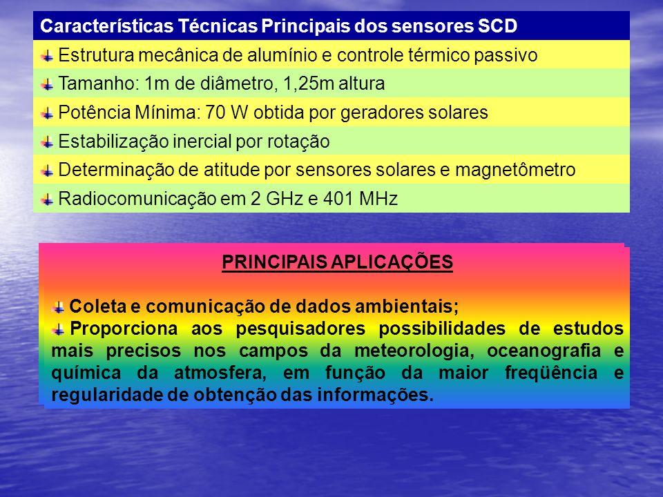 Características Técnicas Principais dos sensores SCD Estrutura mecânica de alumínio e controle térmico passivo Tamanho: 1m de diâmetro, 1,25m altura P