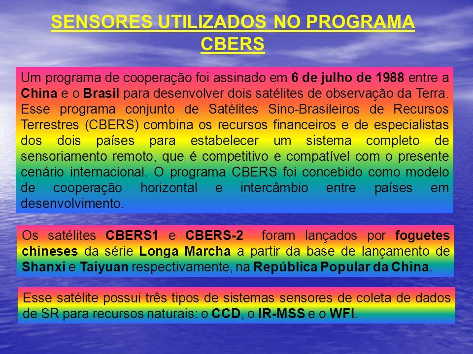 SENSORES UTILIZADOS NO PROGRAMA CBERS Um programa de cooperação foi assinado em 6 de julho de 1988 entre a China e o Brasil para desenvolver dois saté