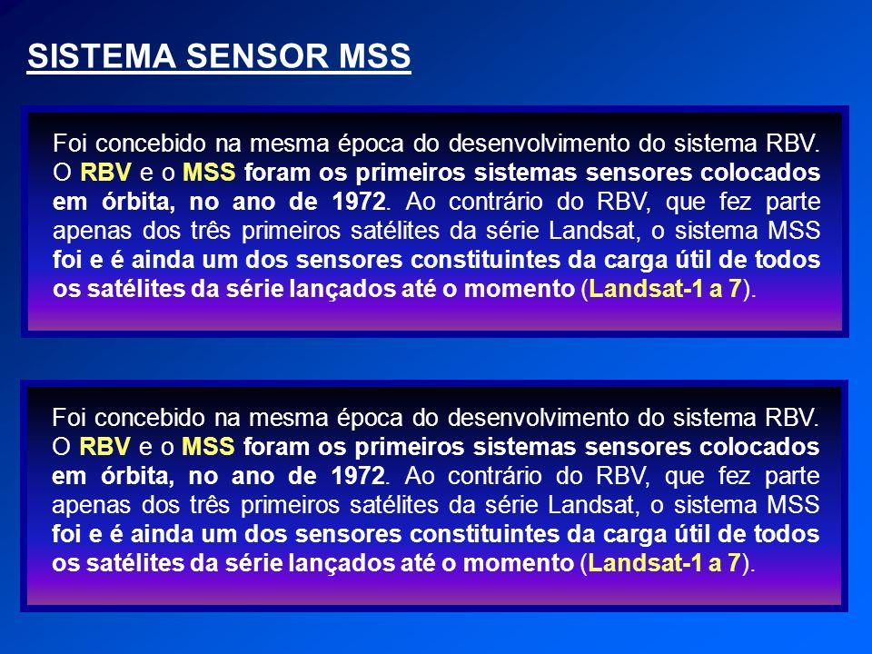 SISTEMA SENSOR MSS Foi concebido na mesma época do desenvolvimento do sistema RBV. O RBV e o MSS foram os primeiros sistemas sensores colocados em órb
