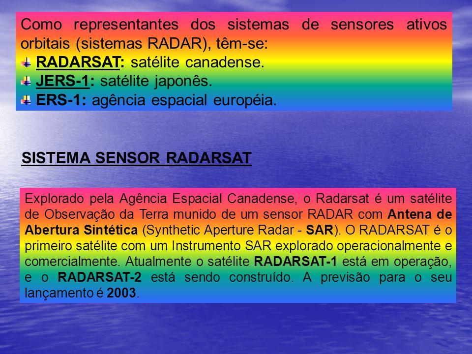 Como representantes dos sistemas de sensores ativos orbitais (sistemas RADAR), têm-se: RADARSAT: satélite canadense. JERS-1: satélite japonês. ERS-1: