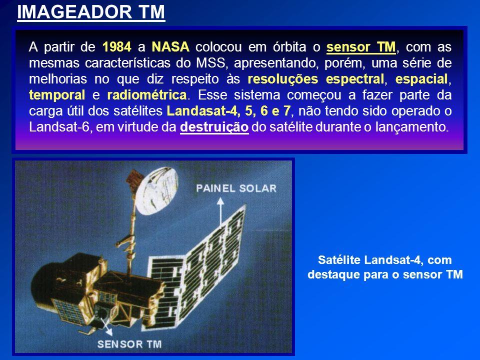 IMAGEADOR TM A partir de 1984 a NASA colocou em órbita o sensor TM, com as mesmas características do MSS, apresentando, porém, uma série de melhorias