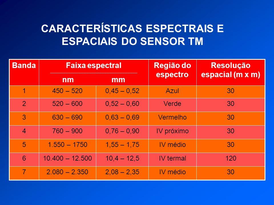 CARACTERÍSTICAS ESPECTRAIS E ESPACIAIS DO SENSOR TM 30IV médio2,08 – 2,352.080 – 2.3507 120IV termal10,4 – 12,510.400 – 12.5006 30IV médio1,55 – 1,751