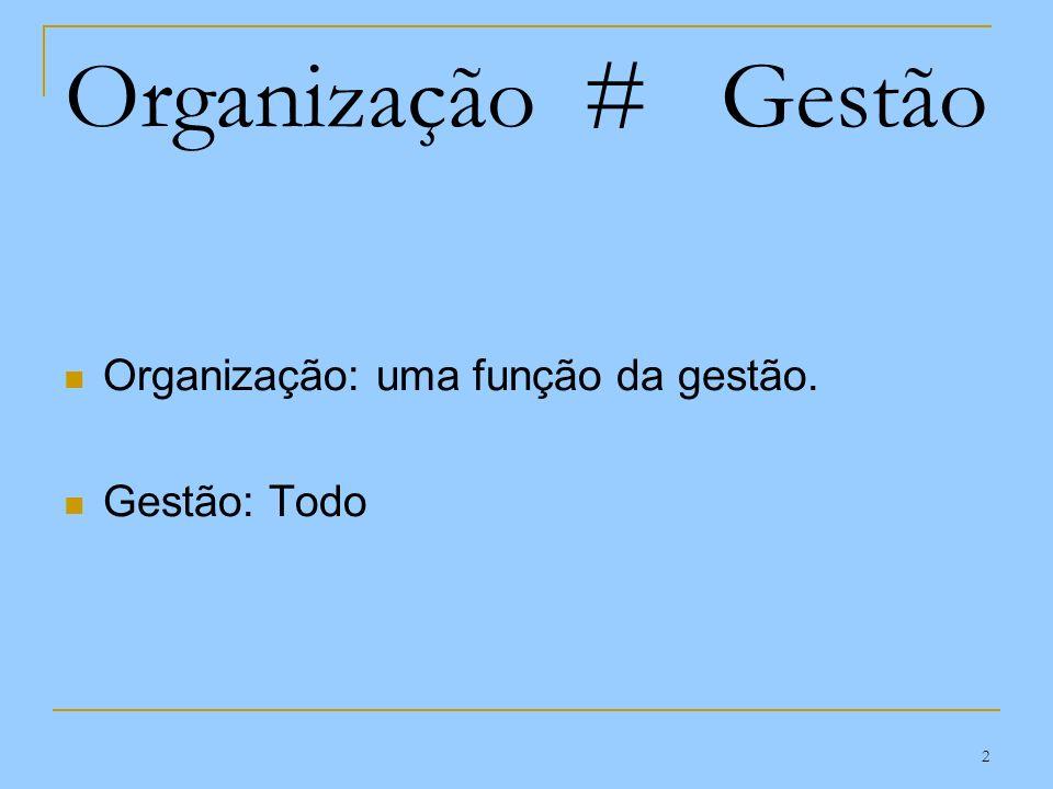 2 Organização # Gestão Organização: uma função da gestão. Gestão: Todo