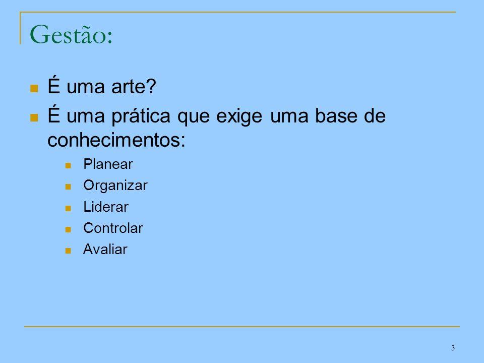 3 Gestão: É uma arte? É uma prática que exige uma base de conhecimentos: Planear Organizar Liderar Controlar Avaliar