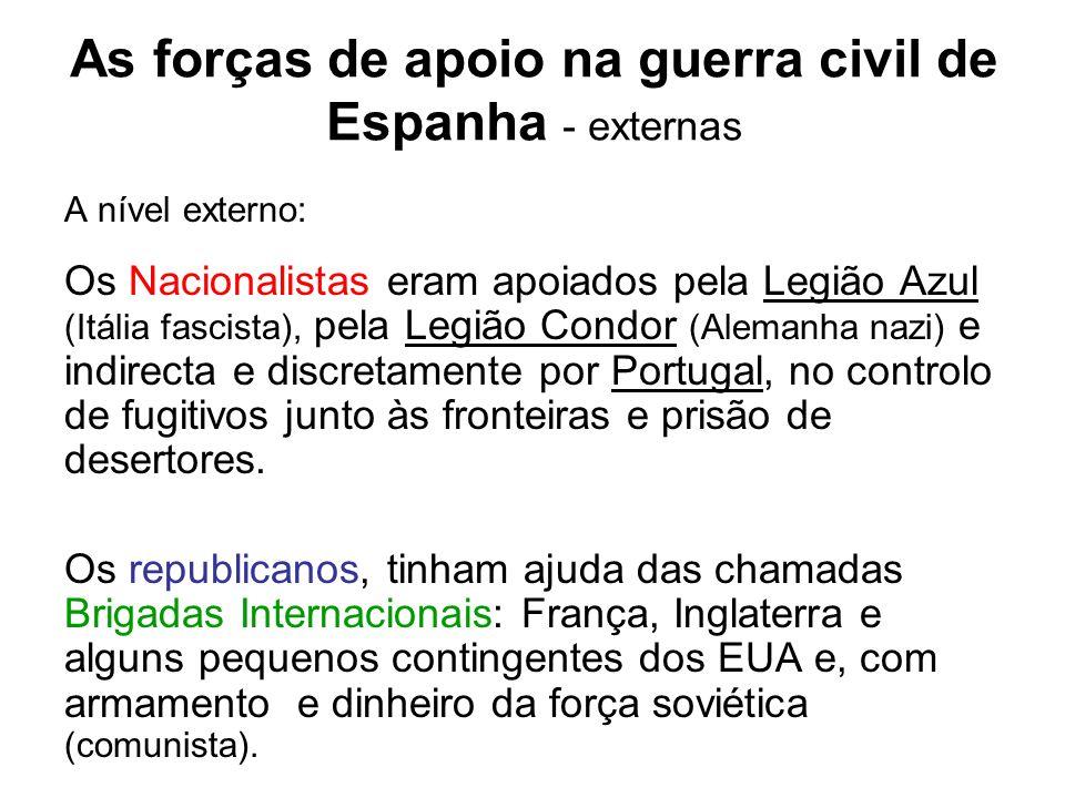 As forças de apoio na guerra civil de Espanha - externas A nível externo: Os Nacionalistas eram apoiados pela Legião Azul (Itália fascista), pela Legi