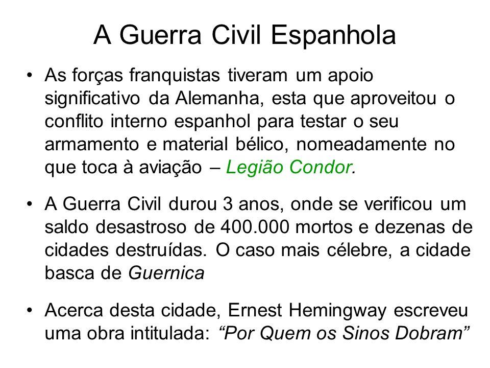 A Guerra Civil Espanhola As forças franquistas tiveram um apoio significativo da Alemanha, esta que aproveitou o conflito interno espanhol para testar