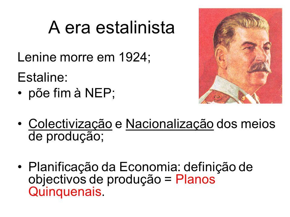 A era estalinista Lenine morre em 1924; Estaline: põe fim à NEP; Colectivização e Nacionalização dos meios de produção; Planificação da Economia: defi