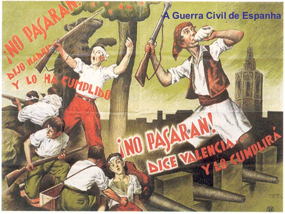 Espanha: a vitória republicana Em 1923, o rei Afonso XIII convida o general Primo de Rivera a formar governo, impondo uma ditadura militar, até 1930; A vitória republicana nas eleições ditou o fim da ditadura militar e o exílio do rei e do general Rivera para Marrocos; Em 1936, a Frente popular, comandada por coligações de esquerda (socialistas, anarquistas e comunistas), vencem as eleições – iniciam-se o caos e a tragédia contra os conservadores e a igreja; Assassinato de Calvo Sotelo, líder do partido monárquico.