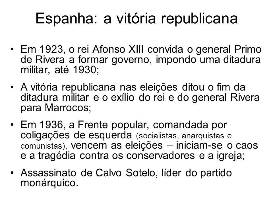 Espanha: a vitória republicana Em 1923, o rei Afonso XIII convida o general Primo de Rivera a formar governo, impondo uma ditadura militar, até 1930;