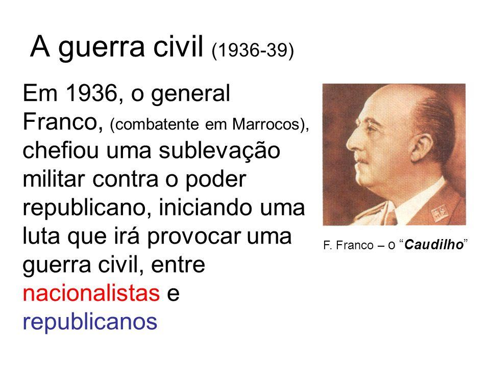 A guerra civil (1936-39) Em 1936, o general Franco, (combatente em Marrocos), chefiou uma sublevação militar contra o poder republicano, iniciando uma